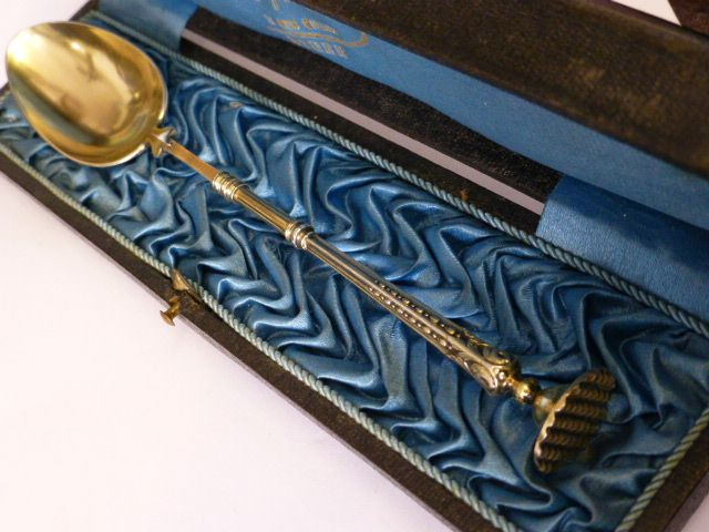 French Silver gilt Antique Wax / Seal Spoon