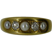 ENGLISH 18k 5 stone Prearl & Diamond Victorian Ring