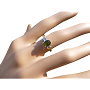 Green Tourmaline & Diamond 18k Ring.