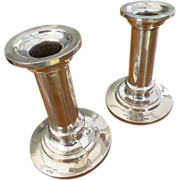 Plain Heavy Silver Maltese Pair of Candle Sticks