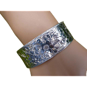 Solid Silver 1967 Beautifully  hand Engraved Bangle