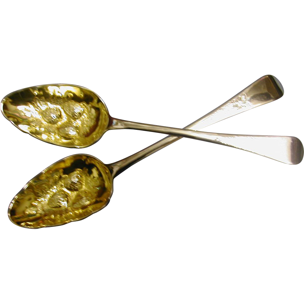 Fine pair of  ENGLISH 1803 chased Berry /Fruit serving Spoons