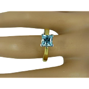 Square Blue Zircon 18k Ring * * * * *