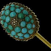 Turquoise & Diamond Pin