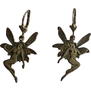 "Art deco style ""Fairy"" silver Ear Drops"