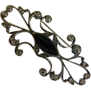 Art Deco style solid Silver Brooch