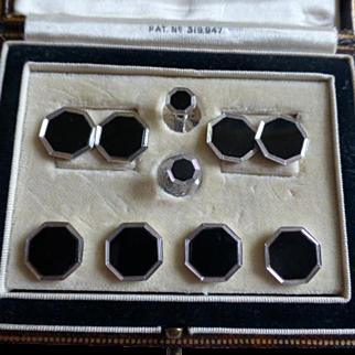 Quality Hexagonal Black Onyx / Gold Dress Set