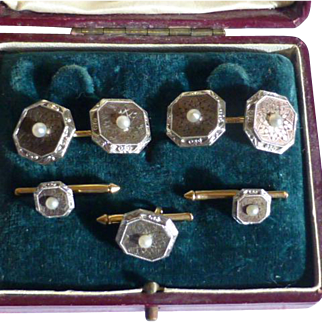 14k Gold, engraved Mother of Pearl & real Seed Pearls DRESS SET