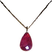 Natural  Briolette Ruby drop Pendent on 15k Chain.