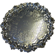 Fine English VICTORIAN solid silver SALVER dated 1848