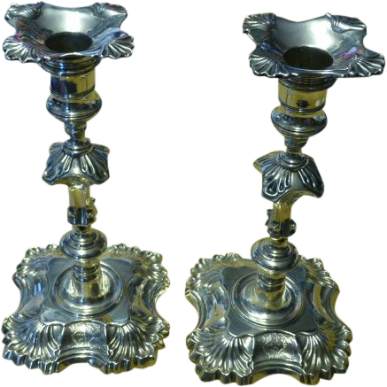 1747...Pair of fine SILVER George II English Candle Sticks Full Hallmarks for 1747