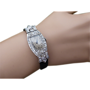 Ladies Vintage Diamond & Platinum Cocktail Watch