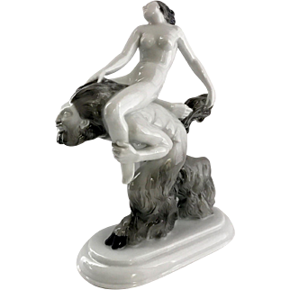 Hutschenreuther Faun and Nymph Porcelain Art Deco Figure