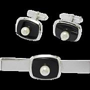 Silver Onyx & Pearl Cufflink & Tie Bar Set