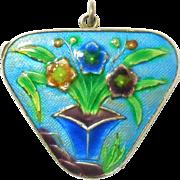 Chinese Silver Enamel Cloisonne Floral Locket