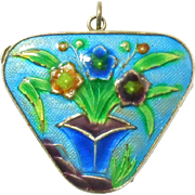 Chinese Silver Enamel Cloisonne Floral Locket