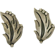 Taxco Maricela Silver Leaf Earrings