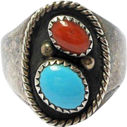 Navajo Guerro Turquoise Coral Silver Ring