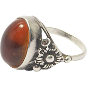Sterling Amber Ring Floral Setting Beautiful
