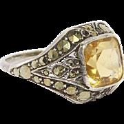 Art Deco Marcasite Silver Citrine Ring