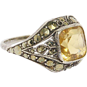 Art Deco Marcasite Silver Citrine Ring