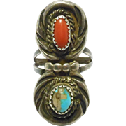 Navajo Turquoise & Coral Ring Vintage