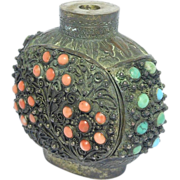 Rare Early Turquoise & Coral Chinese Snuff Bottle