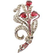 Red Early Trifari Alfred Philippe Floral Spray Brooch