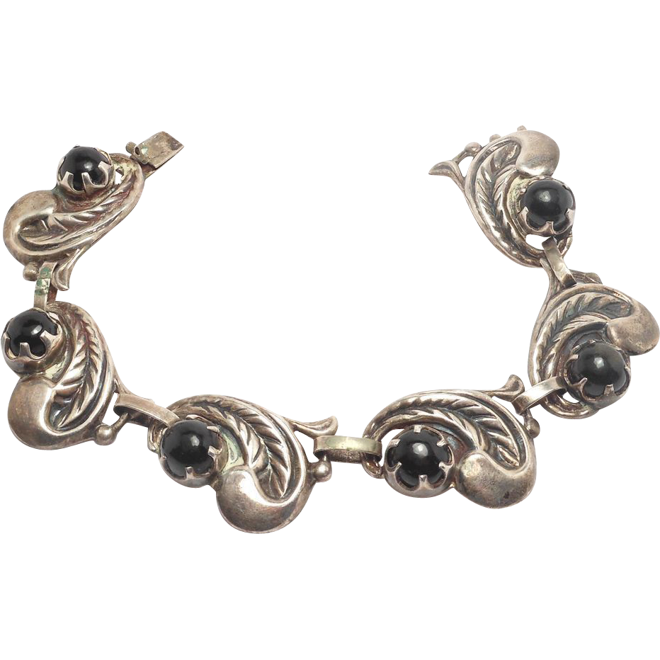 Sterling Taxco Signed Repousse Silver Onyx Bracelet From