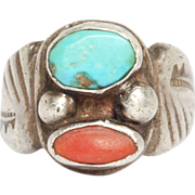 Turquoise & Coral Heavy Silver Navajo Ring