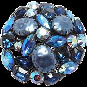 Large Cobalt Rhinestone Brooch Unsigned Regency
