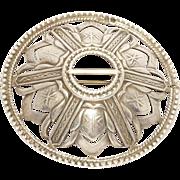 Large Russian Silver Kilt Brooch Hallmarked