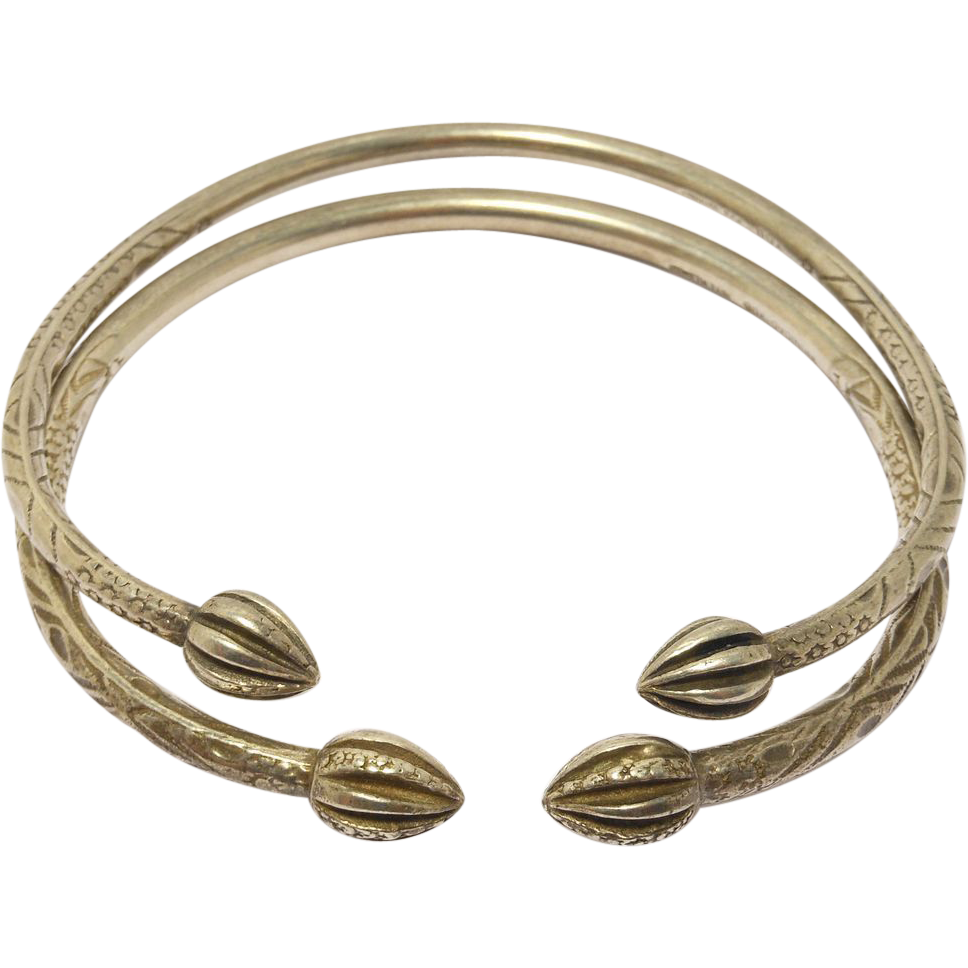 pair old heavy silver ethnic tribal bangle bracelets sold