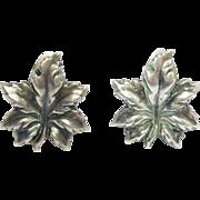 Anton Michelsen Leaf Earrings 925S Denmark Vintage
