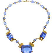 Pretty Ornate Deco Blue Czech Glass Necklace