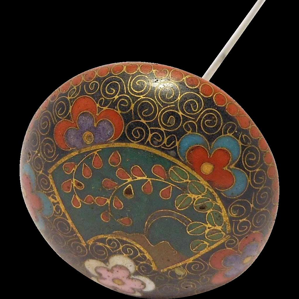 antique ornate cloisonne hatpin art deco rare sold on ruby lane. Black Bedroom Furniture Sets. Home Design Ideas