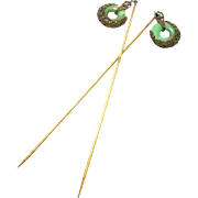 Pair Deco Filigree Peking Glass Hat Pins 1920's