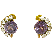 14K Antique Synthetic Alexandrite Earrings Beautiful