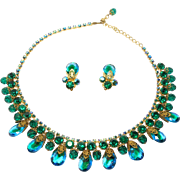 Gorgeous Tiered Crystal Emerald Rhinestones Necklace Set