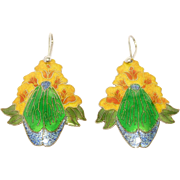 Vibrant Cloisonne Enamel Silver Floral Earrings