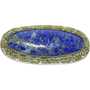 Large Old Chinese Lapis Silver Filigree Brooch