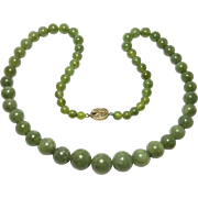 Old Chinese Green Agate Beads Graduated Filigree Clasp