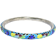 Chinese Silver Cloisonne Bamboo Pattern Enamel Bangle