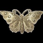 Elegant Vintage Silver Marcasite Butterfly Brooch
