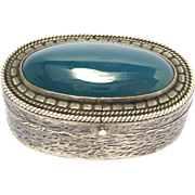 900 Silver And Chrysoprase Agate Pill Box Vintage