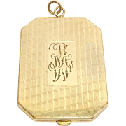 Oversize Deco Engraved Gold Filled Locket