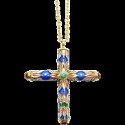 Cloisonne Enamel & Agates Chinese Cross Pendant Vermeil