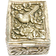 Ornate Silver Repousse Bird Pill Box Beautiful