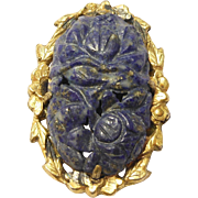 Ornate Chinese Silver & Lapis Dress Clip Deco