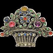 Antique Paste 900 Silver Austrian Flower Basket Pin